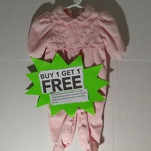 Vitamins Soft Terry Pink Floral Footed 3/6 Months